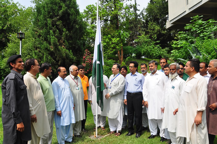 The ceremony of 14th august being held at QAU